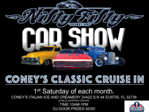 Classic musle car show at Coney'si Italian Ice on Saturday in Eustis